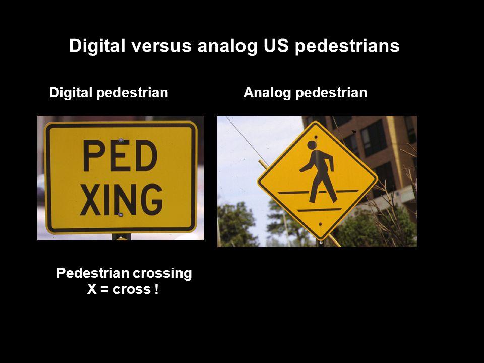 Digital versus analog US pedestrians Pedestrian crossing X = cross .