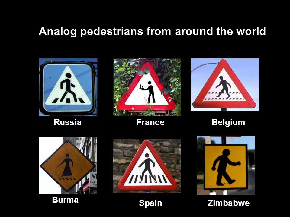 BelgiumFrance Burma SpainZimbabwe Analog pedestrians from around the world Russia