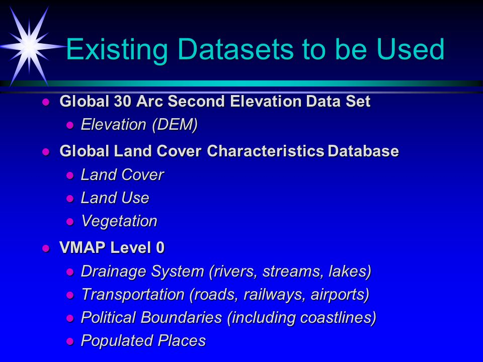 Existing Datasets to be Used Global 30 Arc Second Elevation Data Set Global 30 Arc Second Elevation Data Set Elevation (DEM) Elevation (DEM) Global La