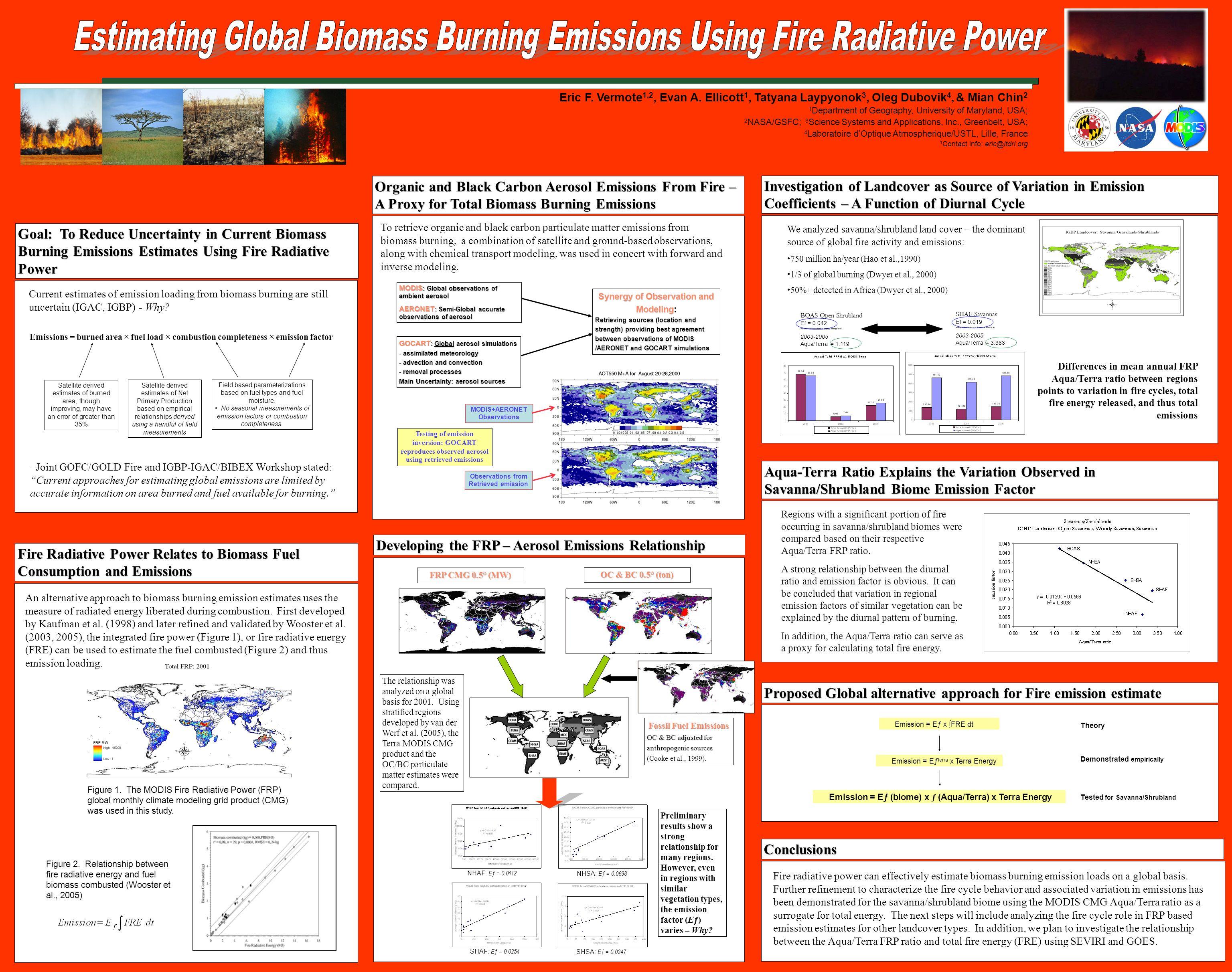 OC & BC 0.5° (ton) Eric F. Vermote 1,2, Evan A. Ellicott 1, Tatyana Laypyonok 3, Oleg Dubovik 4, & Mian Chin 2 1 Department of Geography, University o