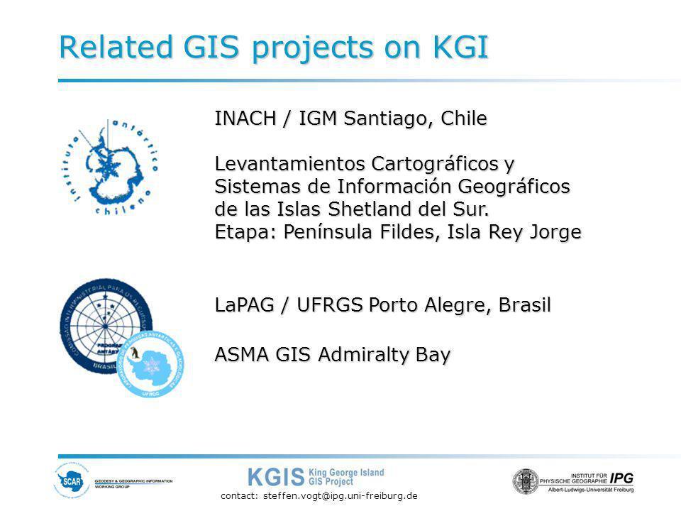 contact: steffen.vogt@ipg.uni-freiburg.de Related GIS projects on KGI INACH / IGM Santiago, Chile Levantamientos Cartográficos y Sistemas de Información Geográficos de las Islas Shetland del Sur.