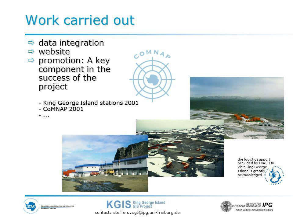 contact: steffen.vogt@ipg.uni-freiburg.de data integration data integration website website promotion: A key component in the success of the project - King George Island stations 2001 - CoMNAP 2001 -...