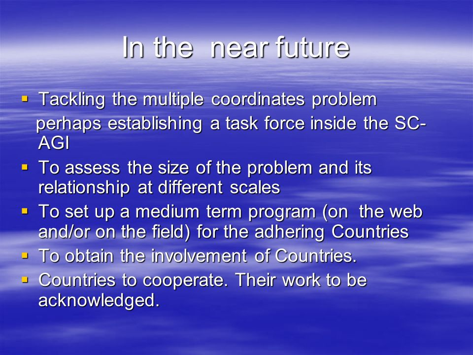 In the near future Tackling the multiple coordinates problem Tackling the multiple coordinates problem perhaps establishing a task force inside the SC- AGI perhaps establishing a task force inside the SC- AGI To assess the size of the problem and its relationship at different scales To assess the size of the problem and its relationship at different scales To set up a medium term program (on the web and/or on the field) for the adhering Countries To set up a medium term program (on the web and/or on the field) for the adhering Countries To obtain the involvement of Countries.