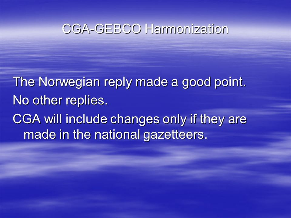 CGA-GEBCO Harmonization Krocker took into consideration 74 geographic features.