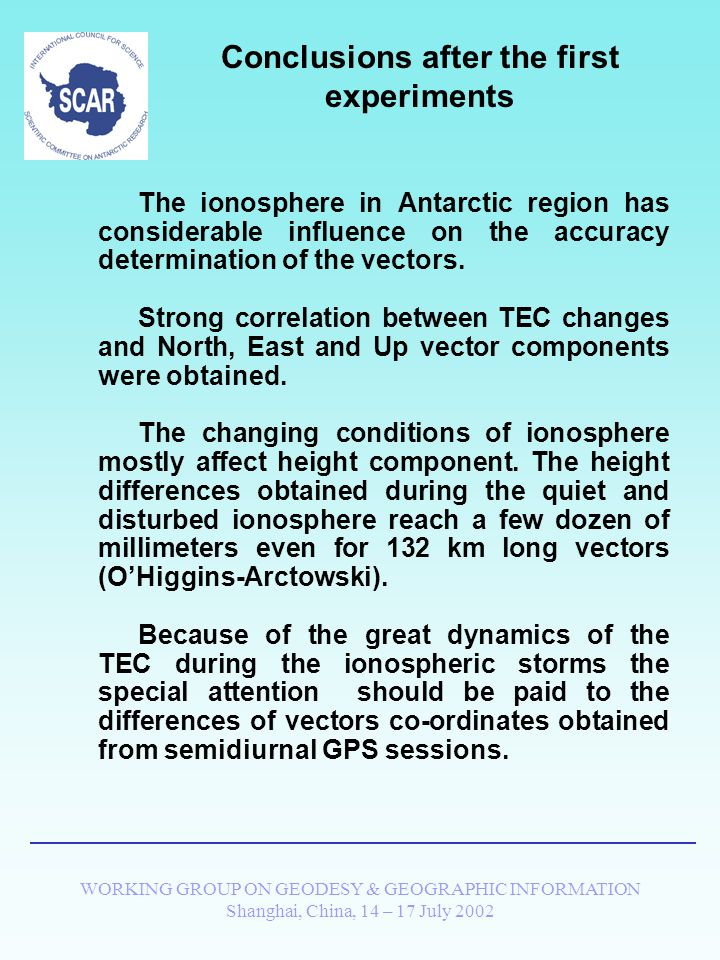 WORKING GROUP ON GEODESY & GEOGRAPHIC INFORMATION Shanghai, China, 14 – 17 July 2002 Studying of the repeatability of the vector components during the ionospheric storms Day-to-day changes of the OHiggins-Arctowski baseline length ( 132 km) STORM OF 15-18 FEB 1999