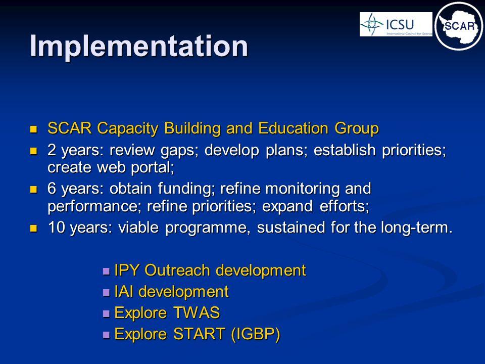 Implementation SCAR Capacity Building and Education Group SCAR Capacity Building and Education Group 2 years: review gaps; develop plans; establish pr