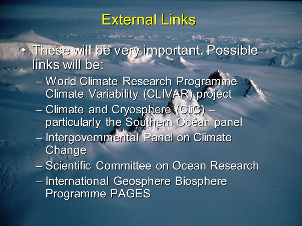 External Links These will be very important. Possible links will be:These will be very important.