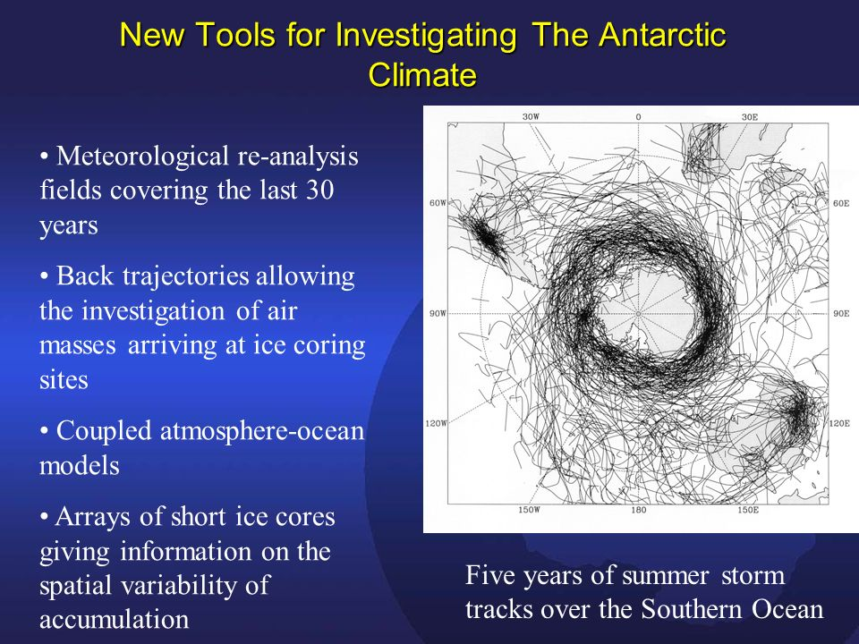 New Tools for Investigating The Antarctic Climate Five years of summer storm tracks over the Southern Ocean Meteorological re-analysis fields covering the last 30 years Back trajectories allowing the investigation of air masses arriving at ice coring sites Coupled atmosphere-ocean models Arrays of short ice cores giving information on the spatial variability of accumulation