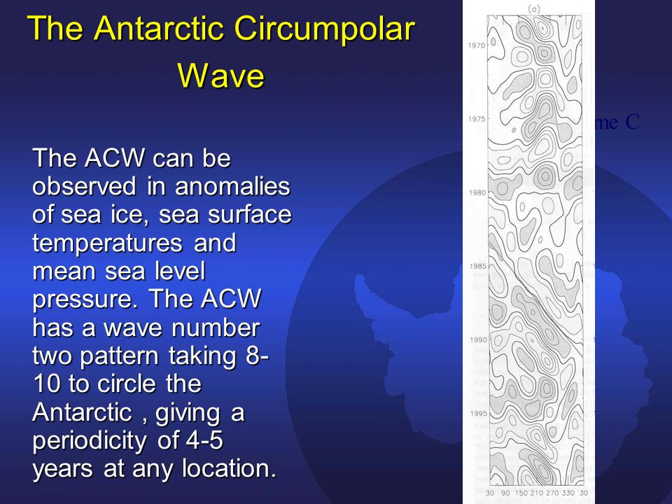 The Antarctic Circumpolar Wave The ACW can be observed in anomalies of sea ice, sea surface temperatures and mean sea level pressure.