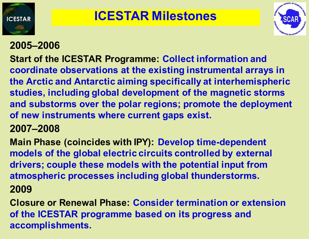 2005–2006 Start of the ICESTAR Programme: Collect information and coordinate observations at the existing instrumental arrays in the Arctic and Antarctic aiming specifically at interhemispheric studies, including global development of the magnetic storms and substorms over the polar regions; promote the deployment of new instruments where current gaps exist.