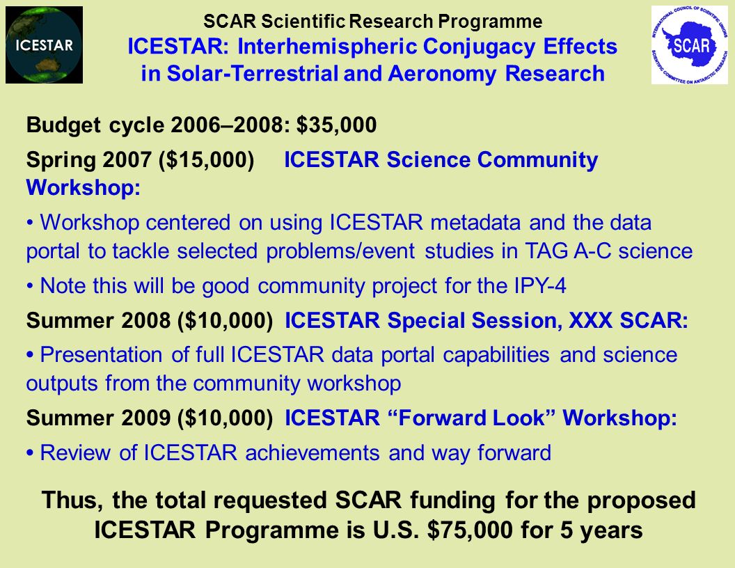 Budget cycle 2006–2008: $35,000 Spring 2007 ($15,000) ICESTAR Science Community Workshop: Workshop centered on using ICESTAR metadata and the data portal to tackle selected problems/event studies in TAG A-C science Note this will be good community project for the IPY-4 Summer 2008 ($10,000) ICESTAR Special Session, XXX SCAR: Presentation of full ICESTAR data portal capabilities and science outputs from the community workshop Summer 2009 ($10,000) ICESTAR Forward Look Workshop: Review of ICESTAR achievements and way forward Thus, the total requested SCAR funding for the proposed ICESTAR Programme is U.S.