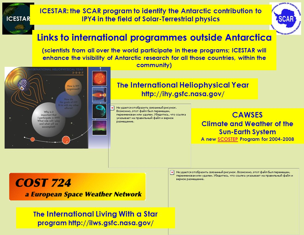 The International Heliophysical Year http://ihy.gsfc.nasa.gov/ Links to international programmes outside Antarctica (scientists from all over the world participate in these programs; ICESTAR will enhance the visibility of Antarctic research for all those countries, within the community) CAWSES Climate and Weather of the Sun-Earth System A new SCOSTEP Program for 2004-2008SCOSTEP The International Living With a Star program http://ilws.gsfc.nasa.gov/ ICESTAR: the SCAR program to identify the Antarctic contribution to IPY4 in the field of Solar-Terrestrial physics