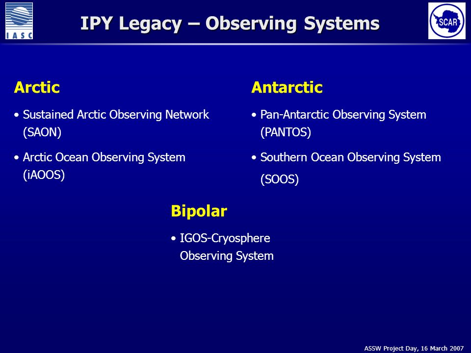 ASSW Project Day, 16 March 2007 IPY Legacy – Observing Systems Arctic Sustained Arctic Observing Network (SAON) Arctic Ocean Observing System (iAOOS) Antarctic Pan-Antarctic Observing System (PANTOS) Southern Ocean Observing System (SOOS) Bipolar IGOS-Cryosphere Observing System