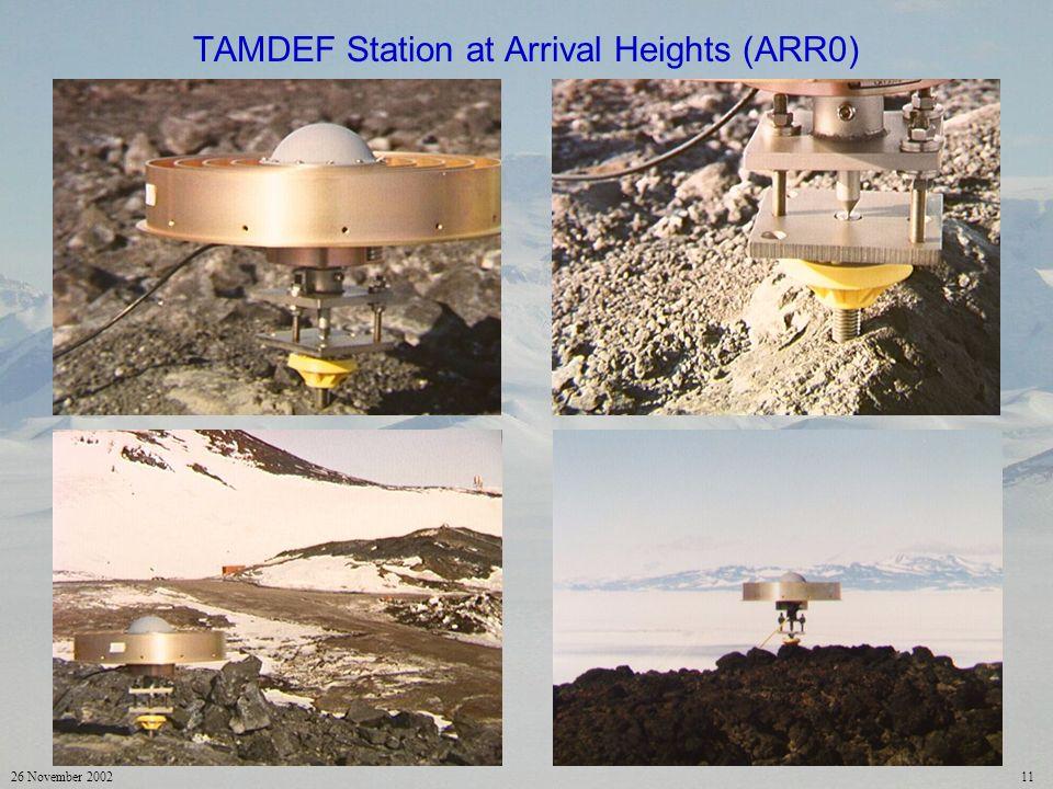 26 November 200211 TAMDEF Station at Arrival Heights (ARR0)