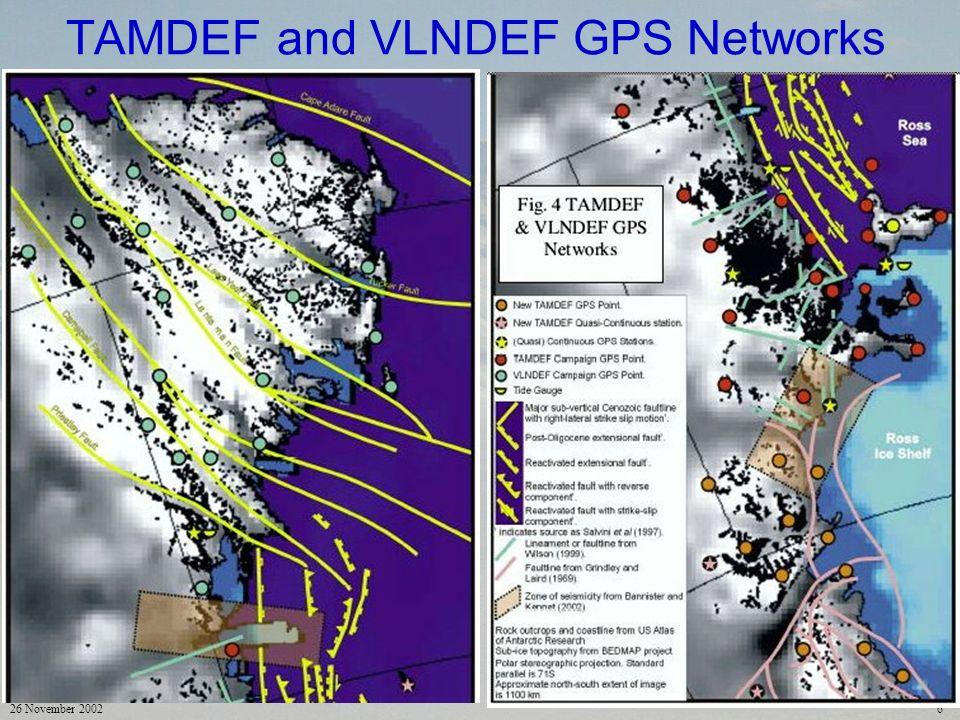 26 November 20026 TAMDEF and VLNDEF GPS Networks