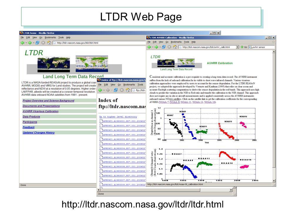 LTDR Web Page http://ltdr.nascom.nasa.gov/ltdr/ltdr.html