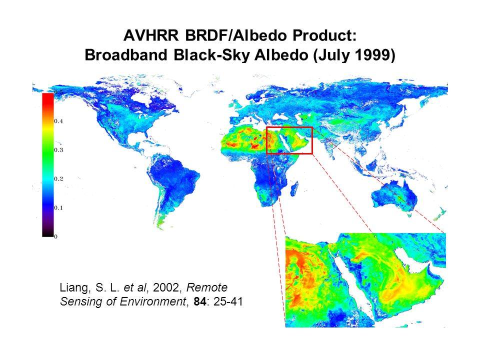 AVHRR BRDF/Albedo Product: Broadband Black-Sky Albedo (July 1999) Narrowband to broadband conversion: Liang, S.