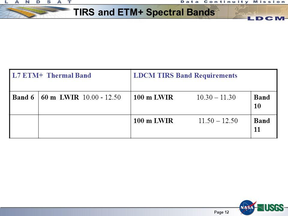 Page 12 L7 ETM+ Thermal BandLDCM TIRS Band Requirements Band 660 m LWIR 10.00 - 12.50100 m LWIR 10.30 – 11.30Band 10 100 m LWIR 11.50 – 12.50Band 11 T