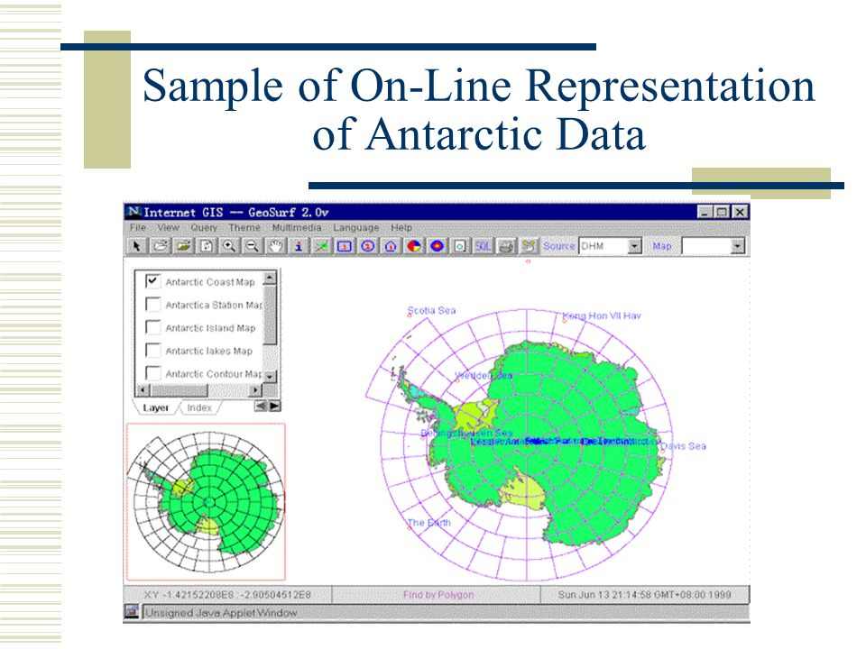 Sample of On-Line Representation of Antarctic Data
