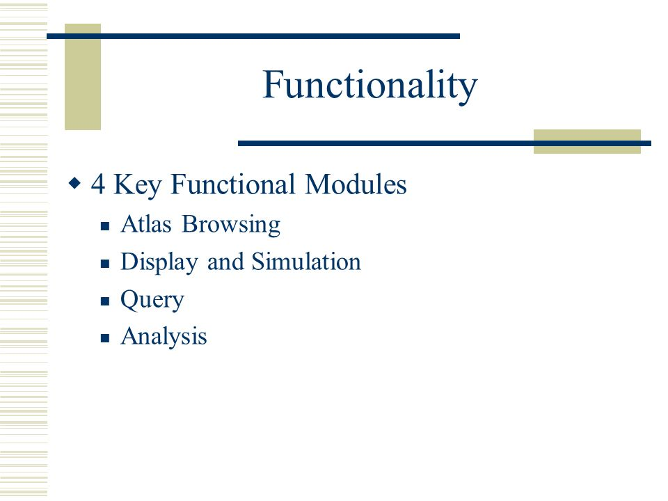 Functionality 4 Key Functional Modules Atlas Browsing Display and Simulation Query Analysis