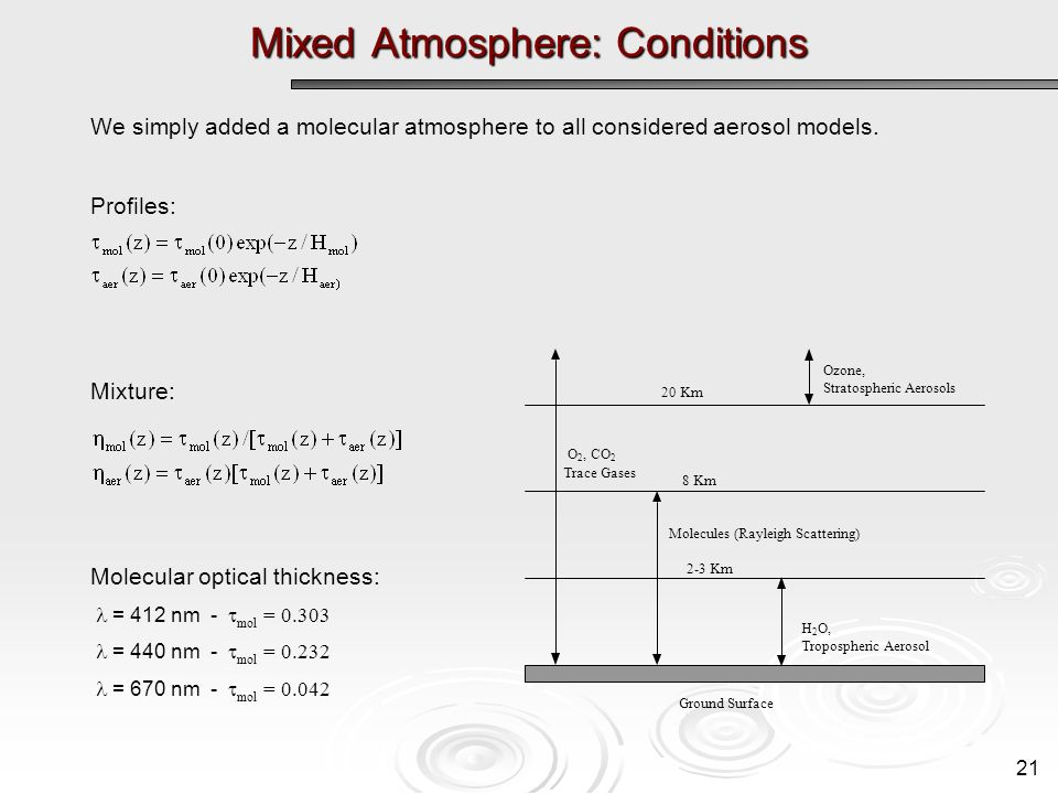 Mixed Atmosphere: Conditions Ground Surface Ozone, Stratospheric Aerosols 8 Km 20 Km Molecules (Rayleigh Scattering) H 2 O, Tropospheric Aerosol 2-3 Km O 2, CO 2 Trace Gases We simply added a molecular atmosphere to all considered aerosol models.
