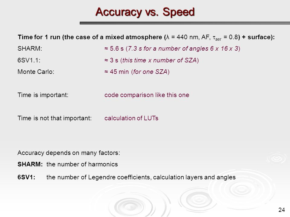 Accuracy vs. Speed 24 Time for 1 run (the case of a mixed atmosphere (λ = 440 nm, AF, aer = 0.8) + surface): SHARM: 5.6 s (7.3 s for a number of angle