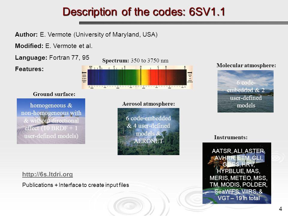 Description of the codes: 6SV1.1 4 Spectrum: 350 to 3750 nm Molecular atmosphere: 6 code- embedded & 2 user-defined models Aerosol atmosphere: 6 code-