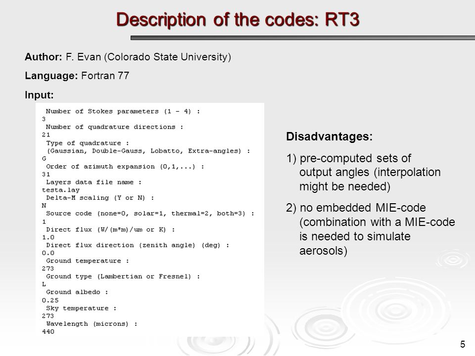 Description of the codes: RT3 5 Author: F.
