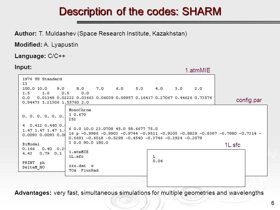Description of the codes: SHARM 6 Author: T. Muldashev (Space Research Institute, Kazakhstan) Modified: A. Lyapustin Language: C/C++ Input: Advantages