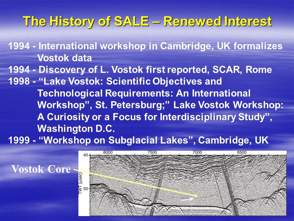 1994 - International workshop in Cambridge, UK formalizes Vostok data 1994 - Discovery of L. Vostok first reported, SCAR, Rome 1998 - Lake Vostok: Sci