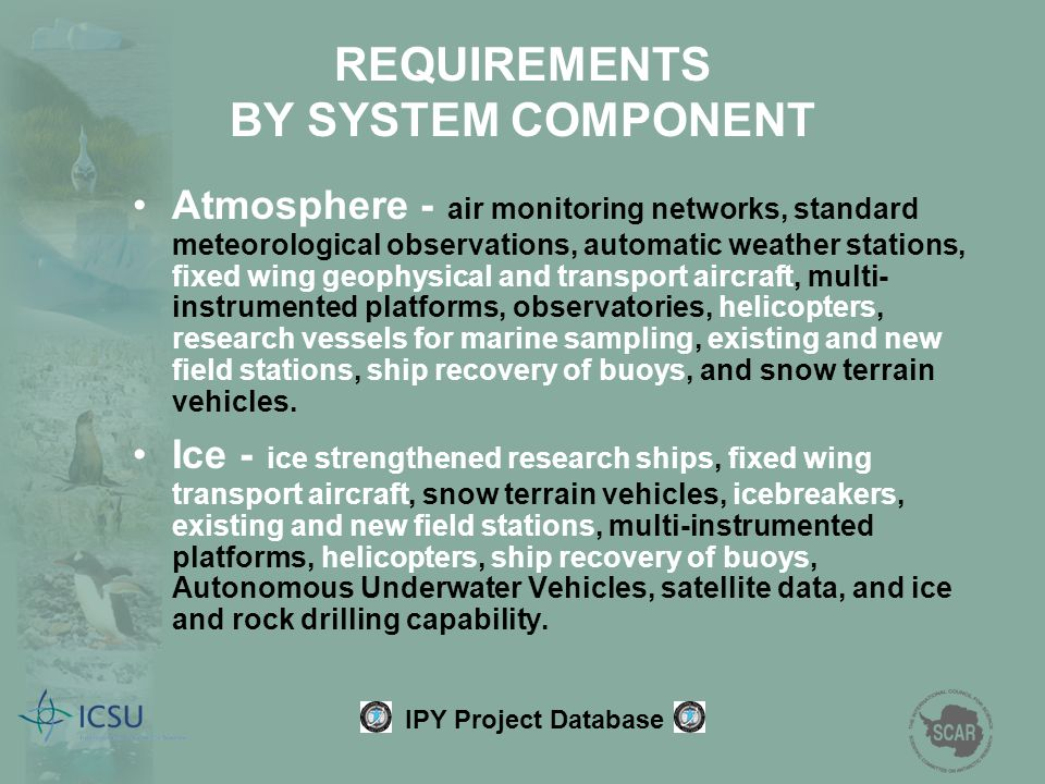 REQUIREMENTS BY SYSTEM COMPONENT Atmosphere - air monitoring networks, standard meteorological observations, automatic weather stations, fixed wing ge
