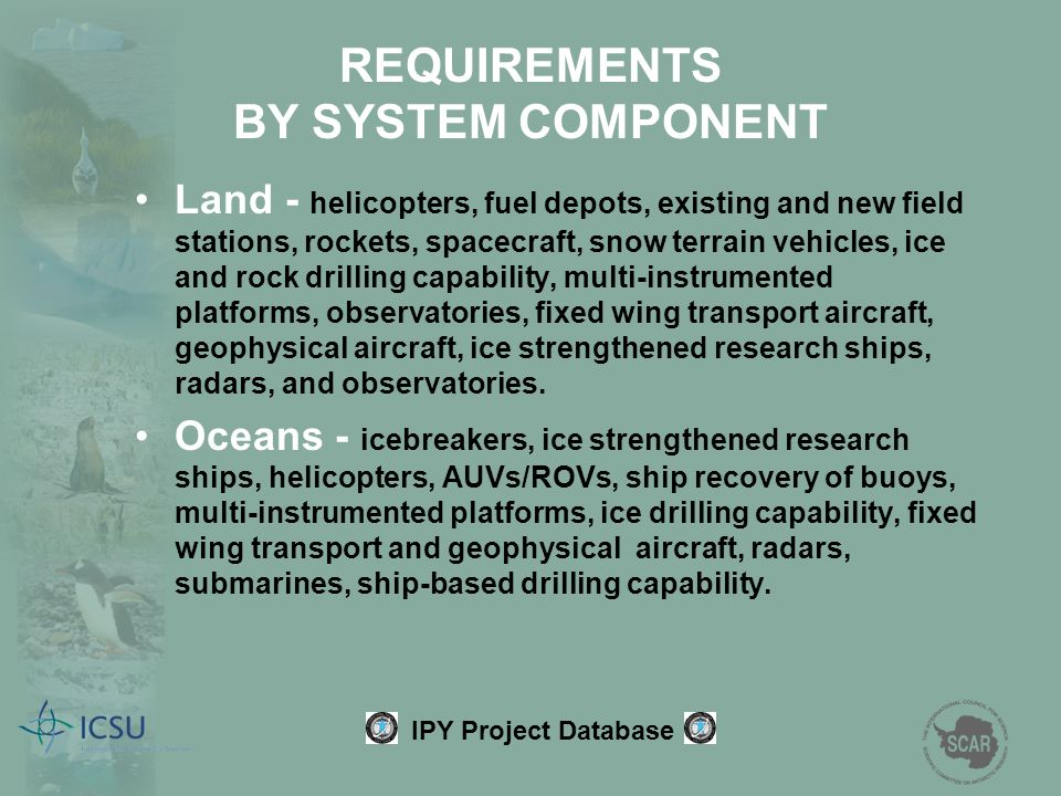 Land - helicopters, fuel depots, existing and new field stations, rockets, spacecraft, snow terrain vehicles, ice and rock drilling capability, multi-