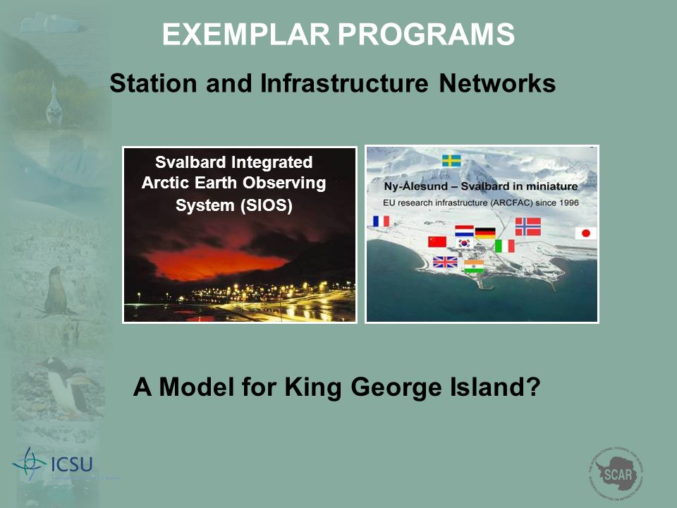 Svalbard Integrated Arctic Earth Observing System (SIOS) A Model for King George Island? EXEMPLAR PROGRAMS Station and Infrastructure Networks