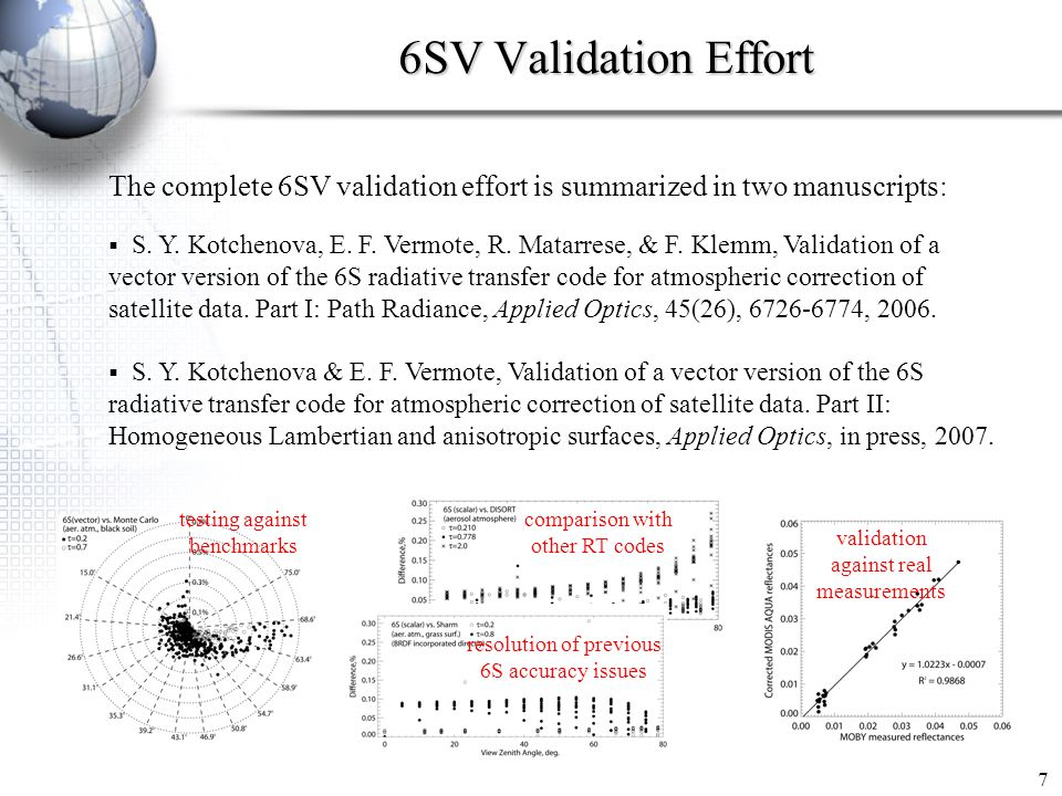 6SV Validation Effort The complete 6SV validation effort is summarized in two manuscripts: S. Y. Kotchenova, E. F. Vermote, R. Matarrese, & F. Klemm,