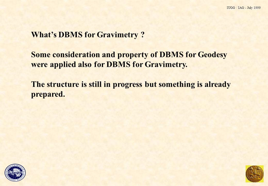 Whats DBMS for Gravimetry .