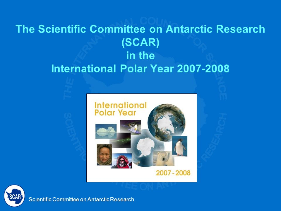 Scientific Committee on Antarctic Research SCARs Advisory Committee on the IPY 2007-2008 Advise SCAR on the IPY science and implementation plan Promote SCAR programs in the IPY Work to achieve IPY objectives Monitor IPYs progress.