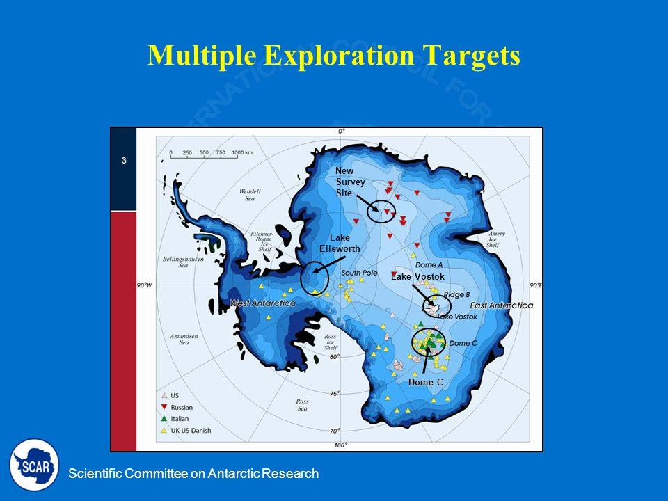 Scientific Committee on Antarctic Research Multiple Exploration Targets Lake Vostok Lake Ellsworth Dome C New Survey Site