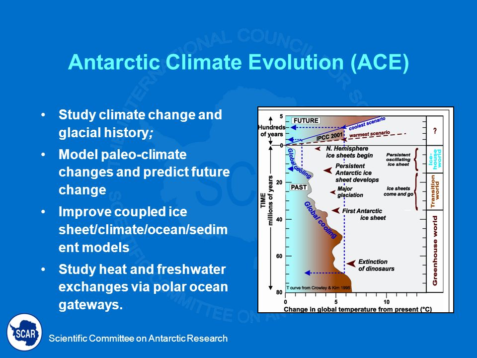 Scientific Committee on Antarctic Research ACE in the IPY 2007-2008 Model Mid-Miocene climate shift and Pleistocene warm periods Model Trans-Antarctic Mountains and East Antarctic Ice Sheet evolution Collaborate with SHALDRILL and ANDRILL