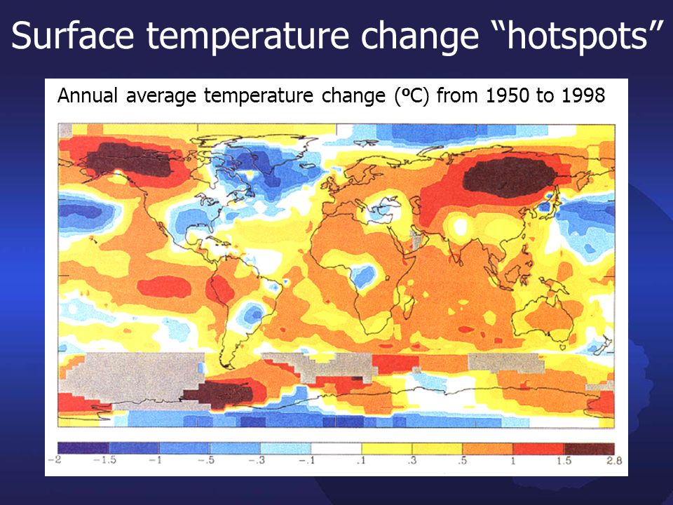 Surface temperature change hotspots 0.4 Annual average temperature change ( o C) from 1950 to 1998 was