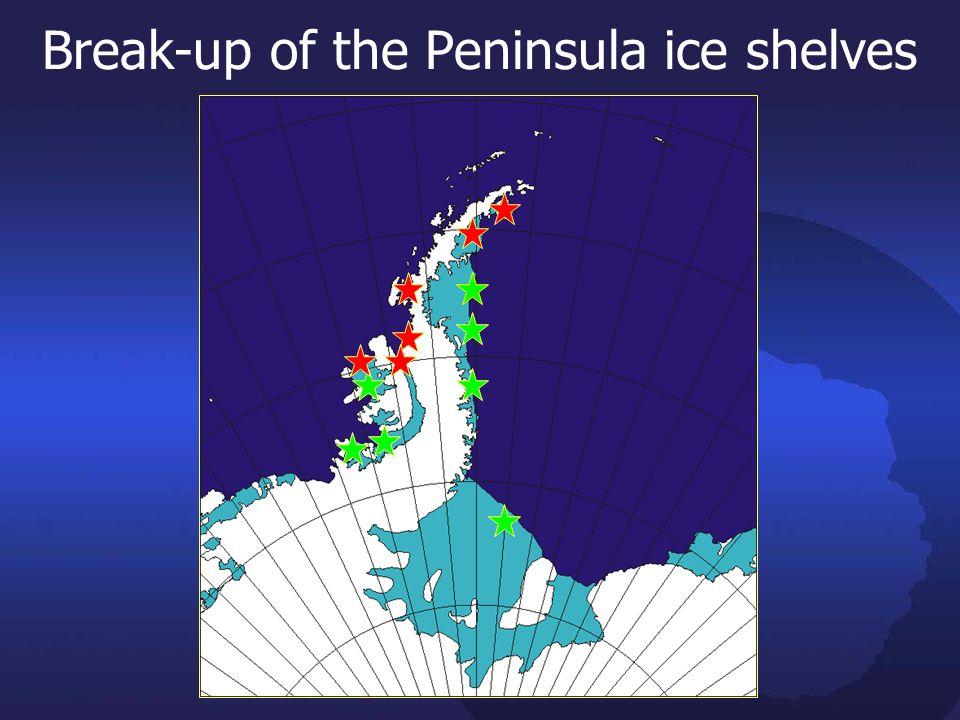 Break-up of the Peninsula ice shelves