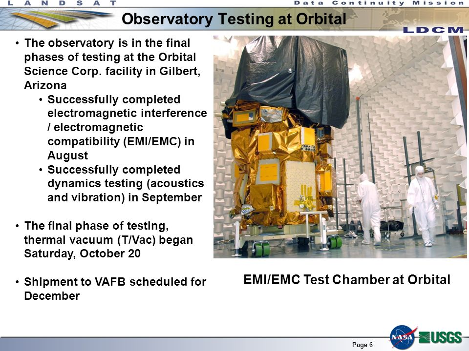 Page 6 Observatory Testing at Orbital The observatory is in the final phases of testing at the Orbital Science Corp. facility in Gilbert, Arizona Succ