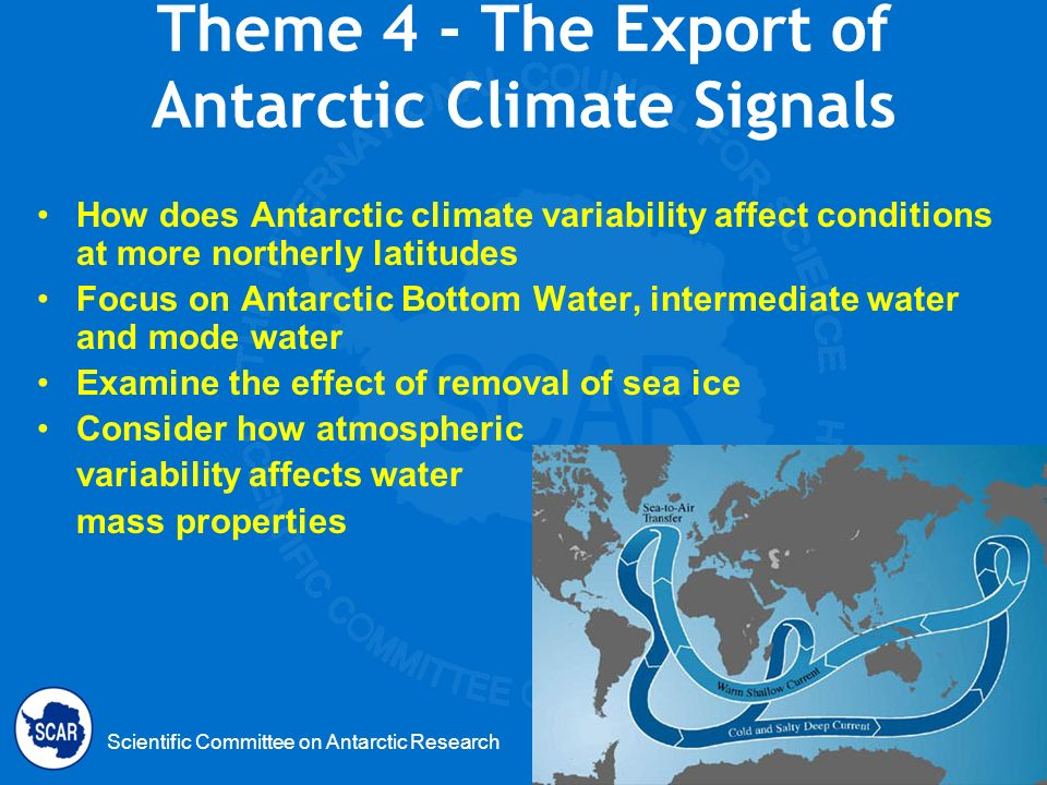 Scientific Committee on Antarctic Research Theme 4 - The Export of Antarctic Climate Signals How does Antarctic climate variability affect conditions at more northerly latitudes Focus on Antarctic Bottom Water, intermediate water and mode water Examine the effect of removal of sea ice Consider how atmospheric variability affects water mass properties