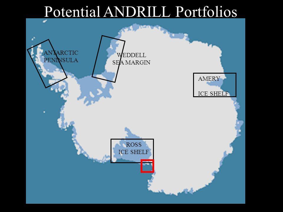 Potential ANDRILL Portfolios AMERY ICE SHELF ROSS ICE SHELF WEDDELL SEA MARGIN ANTARCTIC PENINSULA