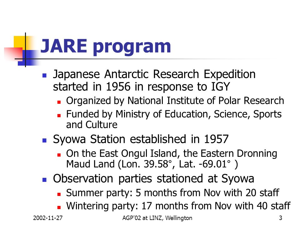 2002-11-27AGP'02 at LINZ, Wellington3 JARE program Japanese Antarctic Research Expedition started in 1956 in response to IGY Organized by National Ins