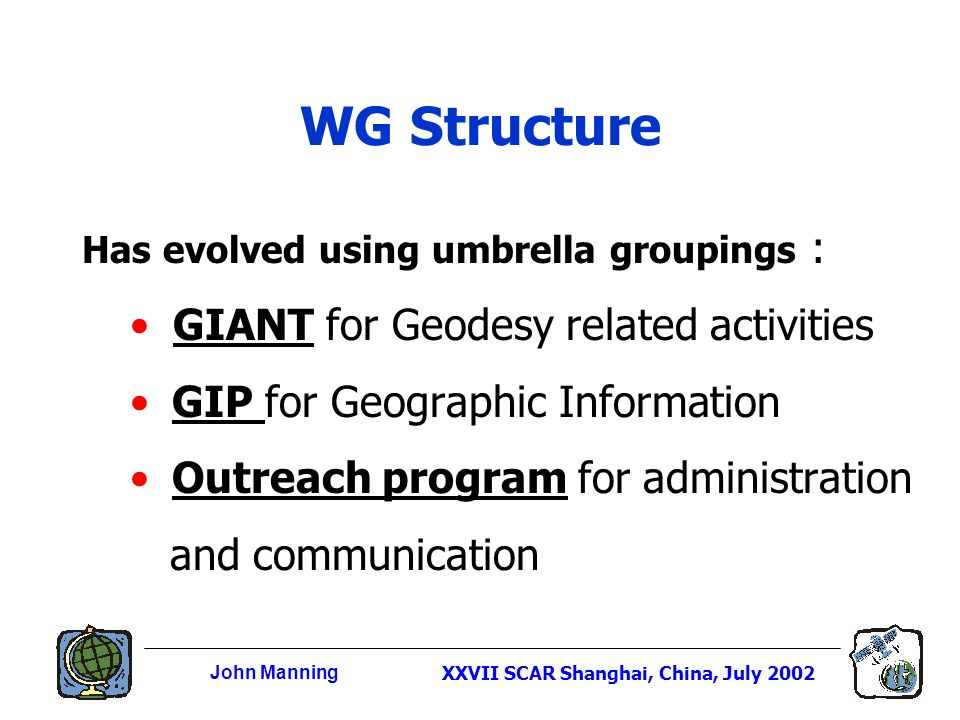 John ManningXXVII SCAR Shanghai, China, July 2002 WG Structure Has evolved using umbrella groupings : GIANT for Geodesy related activities GIP for Geographic Information Outreach program for administration and communication