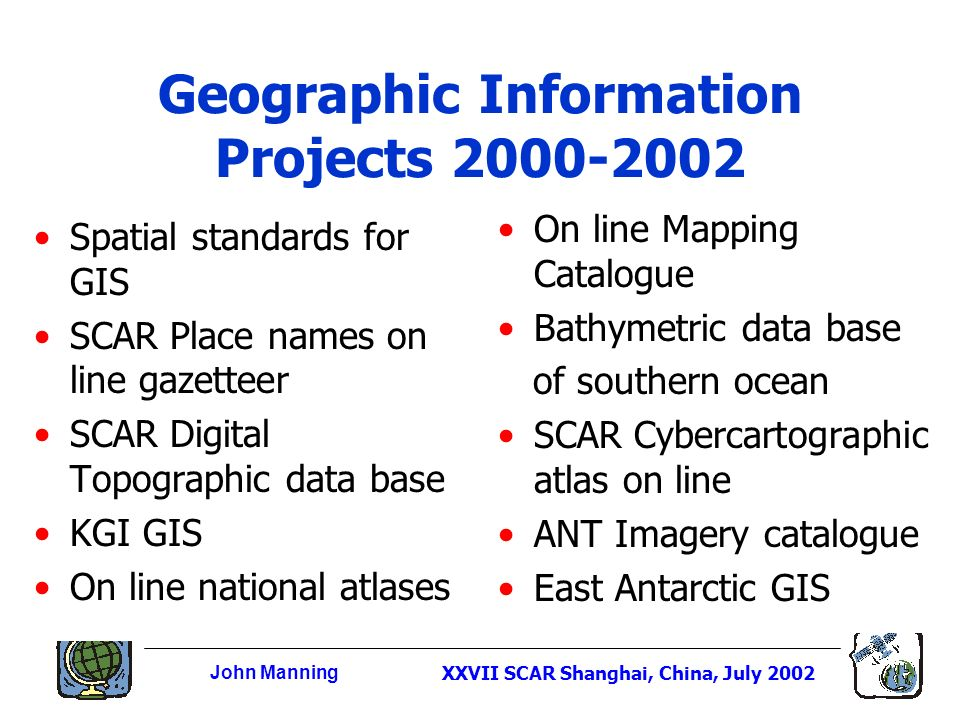 John ManningXXVII SCAR Shanghai, China, July 2002 Geographic Information Projects 2000-2002 Spatial standards for GIS SCAR Place names on line gazetteer SCAR Digital Topographic data base KGI GIS On line national atlases On line Mapping Catalogue Bathymetric data base of southern ocean SCAR Cybercartographic atlas on line ANT Imagery catalogue East Antarctic GIS