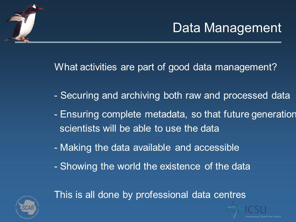 What activities are part of good data management.