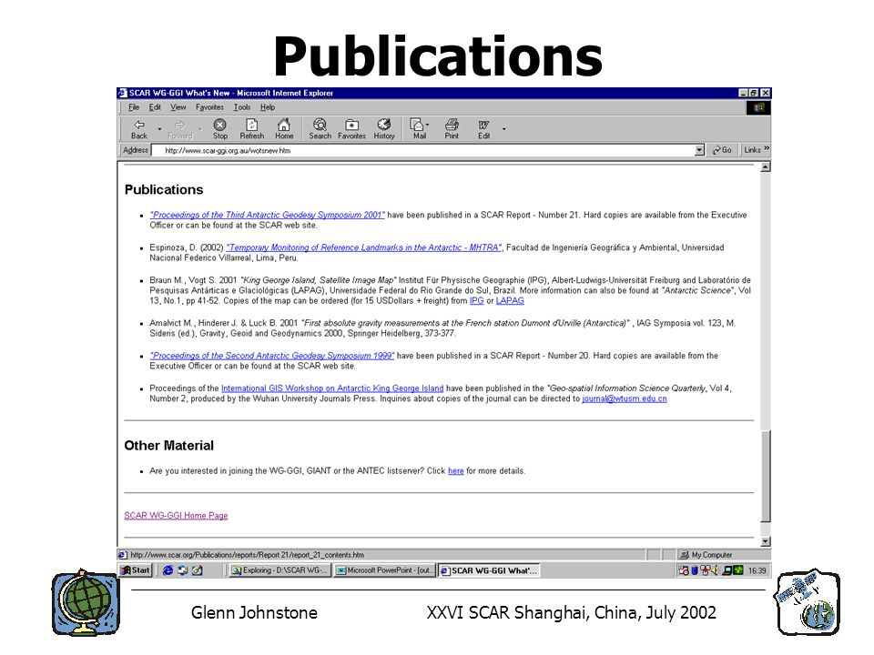 Glenn JohnstoneXXVI SCAR Shanghai, China, July 2002 Publications