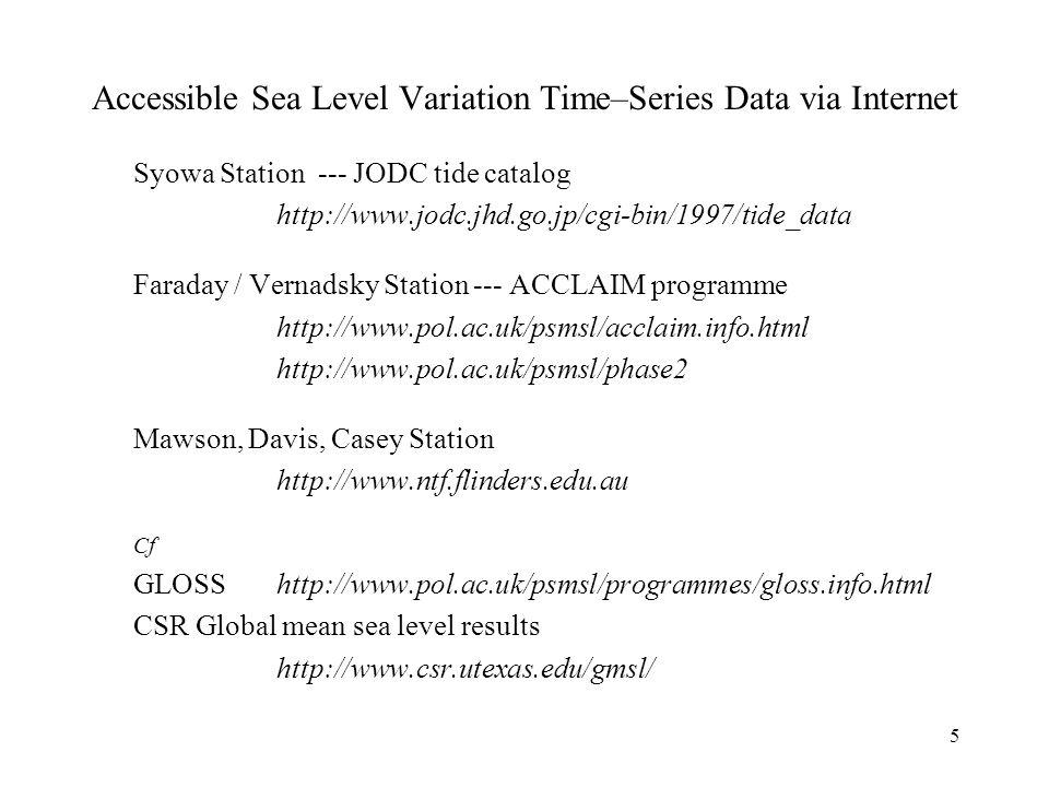 5 Syowa Station --- JODC tide catalog http://www.jodc.jhd.go.jp/cgi-bin/1997/tide_data Faraday / Vernadsky Station --- ACCLAIM programme http://www.pol.ac.uk/psmsl/acclaim.info.html http://www.pol.ac.uk/psmsl/phase2 Mawson, Davis, Casey Station http://www.ntf.flinders.edu.au Cf GLOSShttp://www.pol.ac.uk/psmsl/programmes/gloss.info.html CSR Global mean sea level results http://www.csr.utexas.edu/gmsl/ Accessible Sea Level Variation Time–Series Data via Internet