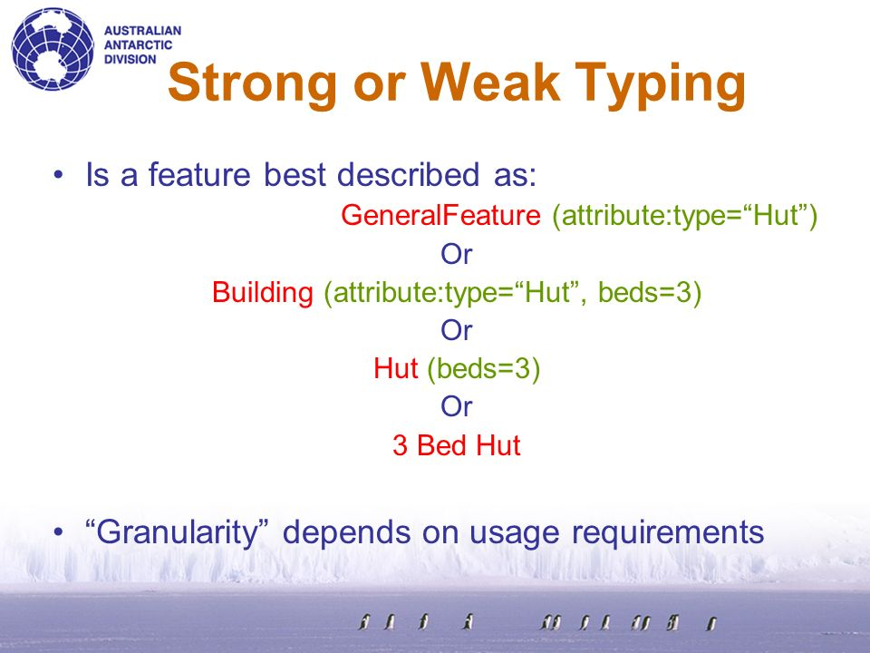Strong or Weak Typing Is a feature best described as: GeneralFeature (attribute:type=Hut) Or Building (attribute:type=Hut, beds=3) Or Hut (beds=3) Or